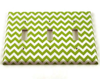 Triple Light Switch Cover Switch Plate Wall Decor  Switchplate  in  Green Chevron (200T)