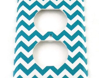 Outlet Light Switch Cover Wall Decor Switchplate Switch Plate in Turquoise Chevron  (229O)