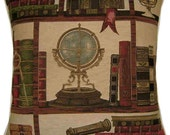 Library Books Nautical Globe Woven Tapestry Cushion Cover Sham