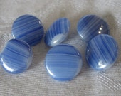 Set of 6 VINTAGE Blue Sriated Glass BUTTONS
