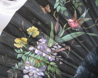 Large ANTIQUE Victorian Black Hand Painted Floral Ebony Wood Stick Hand Fan