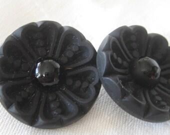 Set of 2 VINTAGE Flower Black Glass BUTTONS