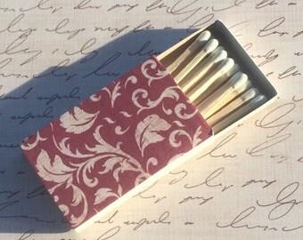 10 Matchbox Wedding Favors red burgundy beige