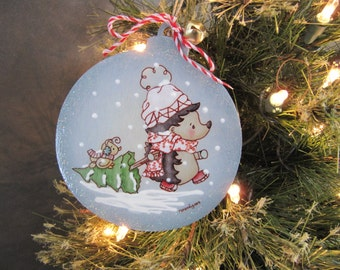 Christmas ornament- Picli the hedgehog and his tree