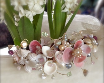 Lilygrace Vintage Rhinestone Brooch Headband with Freshwater Pearls, Mother of Pearl leaves  and Rhinestones