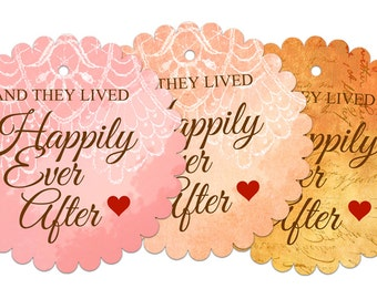 PDF Wedding Favor Tags - Happily Ever After