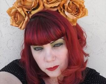 Frida, Yellow rose, Rose Crown, Flower Crown, Floral Crown,Rose, Lana del rey inspired, Festival, Burning man