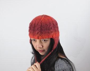 Ear Flap Hat Orange Cable Knit Hat Merino Wool Orange Ear Flap Knit Hat