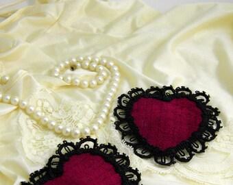 Burlesque Velvet Red Heart Nipple Pasties Black Lace Valentines Day