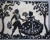 Silhouette Needlepoint Tapestry - Vintage Hand Made  - Victorian Couple -  Black on Cream -  - No Frame