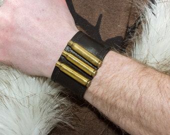 Brass Metal Bullet Leather Cuff Bracelet