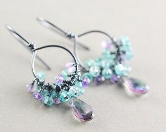 Mystic Topaz Hoop Earrings, Topaz Drop Earrings, Aqua Cluster Earrings
