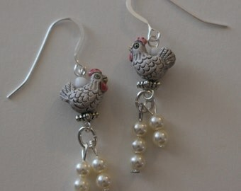 WHITE HEN Earrings - Sterling Silver French Earwires - Chicken with Eggs