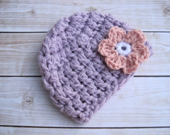 Baby Girl Hat, Girl Baby Hat, Crochet Baby Girl Beanie, Newborn Flower Hat, Infant Hospital Hat, Chunky Baby Girl Winter Hat, Purple