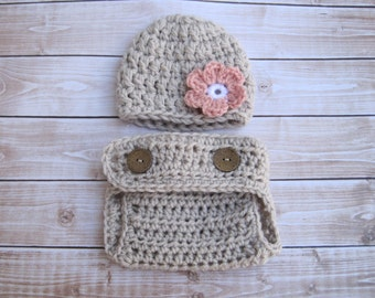 Crochet Baby Hat, Baby Photo Prop, Baby Girl Hat, Baby Girl Diaper Cover Set, Baby Beanie, Newborn Hat, Infant Diaper Cover, Baby Flower Hat