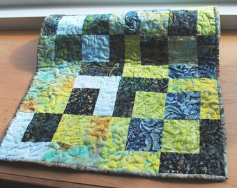 Handmade Quilted Table Runner Green Yellow Blue Brown Batik