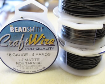 18 gauge Hematite Plated Beadsmith Copper Craft Wire 4 yards