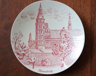 Kronborg Castle. 1960s Nymolle Hoyrup Art Faience wall plate, Danish Modern souvenir.