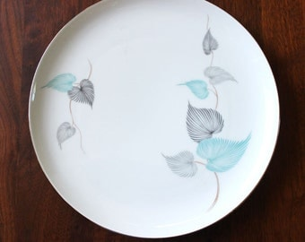 1950s Eschenbach porcelain dinner plate, German mid century modern serving. Blue Gray Leaves.