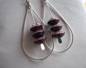 Burgundy Red Teardrop Hoop Earrings, Hoop Earrings, Red Earrings, Red Hoops,  Wood Earrings
