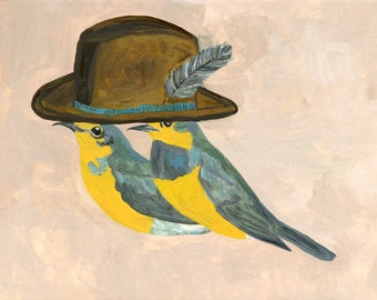 Warblers, undercover.  Original oil painting by Vivienne Strauss.