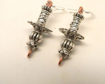 Steampunk mixed metal jewelry earrings.Steampunk jewelry.