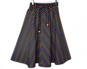 70's CRAYON STRIPE full cotton skirt // vintage chevron swing skirt // S small