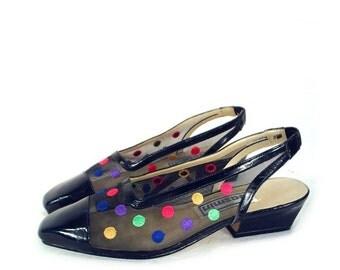 vintage POLKA DOT mesh // slingback sandals // black // size 8 / 80's 90's