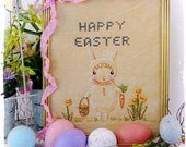 Easter  bunny embroidery PDF Pattern - cute girl stitchery primitive frame egg hunt cross stitch daffodil