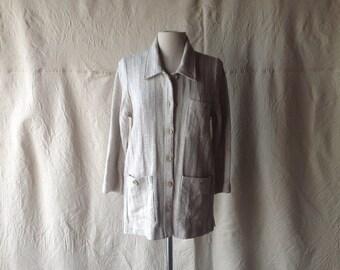 Vintage Linen Textile Jacket.