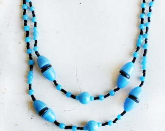 Vintage Art Deco Blue and Black Necklace - gumdrop shaped - black spacer circa 1930 cabochon