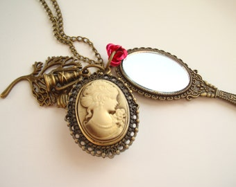 Beauty and The Beast Pocket Watch Necklace Antique Gold Mirror Rose