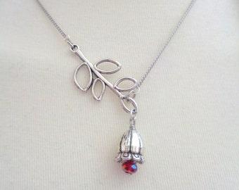 Flower Lariat Necklace,Branch Necklace, Lariat Necklace, Tulip Flower Necklace