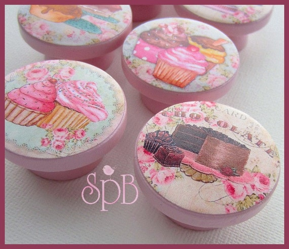 pink cupcake knobs french p tisserie shabby knobs. Black Bedroom Furniture Sets. Home Design Ideas