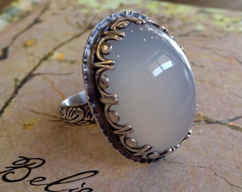 Cats Eye White Chalcedony Cocktail Statement Silver Ring W Art Deco Bezel