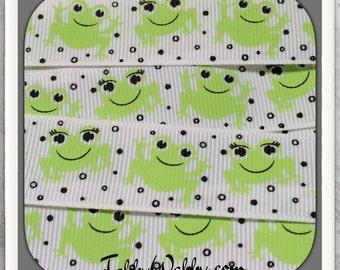 "Frog Lovers Miss Froggie on white 7/8"" grosgrain ribbon 5 Yards TWRH"