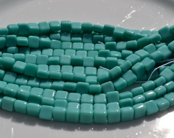 Turquoise 6mm square Czech Glass Beads  25