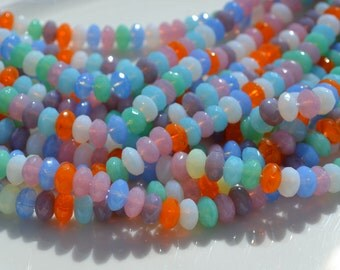 Pastel Mix 7x4mm Faceted Rondelle Czech Glass Beads   50