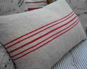 Vintage GRAINSACK 24x16 Pillow/Down /French Cottage/ Paris Shabby Chic/Red Stripe/Rustic Pillow/Beach Pillow/Lumbar