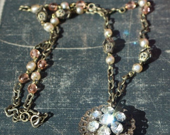 Romantic two sided vintage elements necklace
