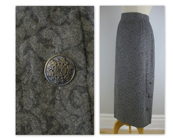 Vintage 90s Jaquard Skirt M gray with snowflake buttons NOS