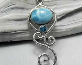 Larimar Necklace - Larimar Blue Topaz Pendant - Mermaid Dreams - Unique Larimar Blue Topaz Jewelry - Something Blue