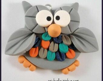 Polymer Clay Feathered Owl  Gray Navy Orange