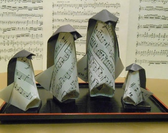 Musical Origami Penguin Family