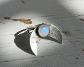 Silver Moonstone Crescent Moon Ring, Mystical Jewelry, Bohemian Gypsy Ring C&S