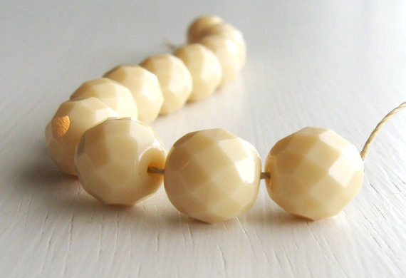 12 Opaque Cream 10mm Faceted Rounds - Czech Glass Beads