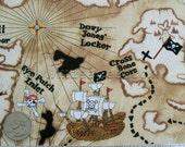 PIRATE MAP Tan Viking Cotton Quilt Fabric by the Yard - Boys Adventure Treasure Skull Crossbones