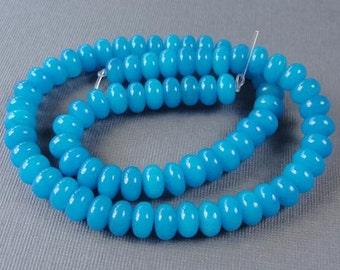 One Strand - Cyan Blue Jade Abacus rondelle Gemstone Beads,  Jewelry Beads, 8x5mm, STR907