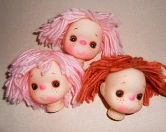 Vintage Rubber Acrylic Doll Heads, Yarn Hair Doll Heads, Doll Accessories