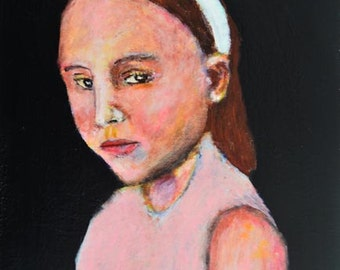 Moody Little Girl Portrait Painting Print. Child's Room Digital Art Prints. Alice Wearing Pink